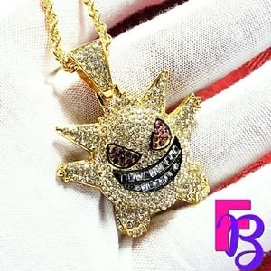 Iced 14k Gold Baby Gengar Pendant & Rope Chain